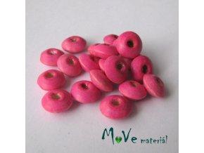 Dřevěný korálek disk 9x4mm, 20ks, sv. růžová