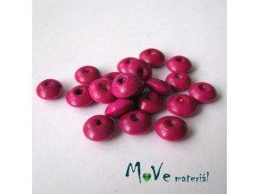 Dřevěný korálek disk 9x4mm, 20ks, růžovofialová