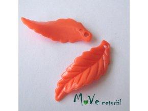 Akrylové lístečky zvlněné, 2ks, oranžové