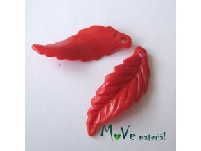 Akrylové lístečky zvlněné, 2ks, červené