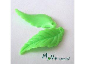 Akrylové lístečky zvlněné, 2ks, zelené