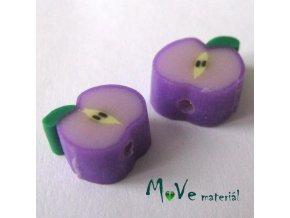 Fimo korálky 8x4mm, 2kusy, fialové