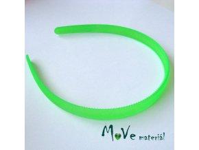 Čelenka jednoduchá plastová 13mm, neon. zelená