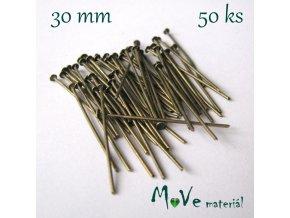Ketlovací nýt staromosazný 30mm, 50ks