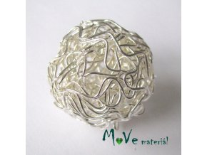 Kovový korálek klubíčko, stříbrné, 30mm, 1ks