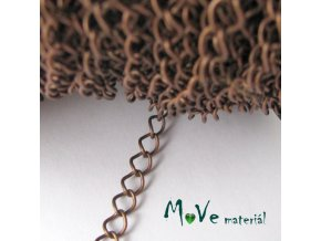 Řetízek kovový šíře 5x3mm, délka 1m, staroměď