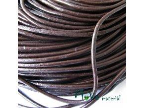 Kulatá přírodní kůže 2mm/1m, čokoládová