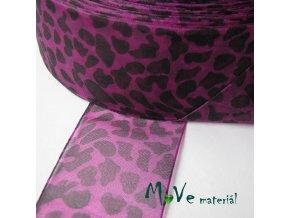 Šifónová stuha 38mm, 1m, leopard, růžovofialová