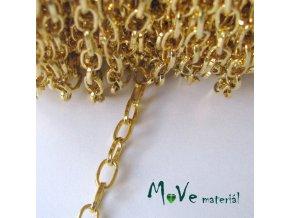 Řetízek kovový - 3,8 x 6,9mm, délka 1m, zlatá
