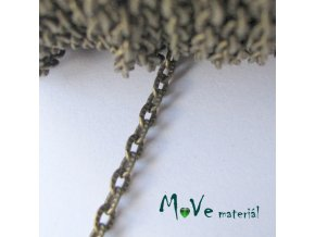 Řetízek kovový šíře 4,8x3mm, délka 1m, staromosaz