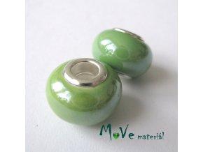 Korálek porcelán. s širokým průvlekem 1kus, zelený