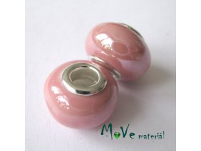 Korálek porcelán. s širokým průvlekem 1kus, růžový