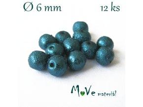 """Voskové perle """"Zigana"""" 6mm, 12ks, tm. tyrkysová"""