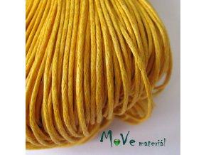 Šňůra voskovaná bavlněná 1mm, 3m, žlutá