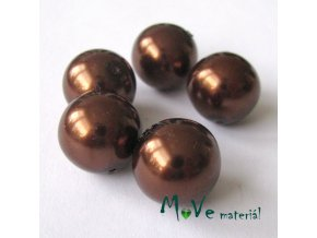 České voskové perle 14mm, 5ks, hnědé