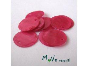 Perleťové penízky 15mm, 10ks, tm. růžové