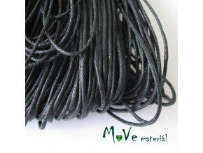 Šňůra voskovaná bavlněná 1mm, 3m, černá