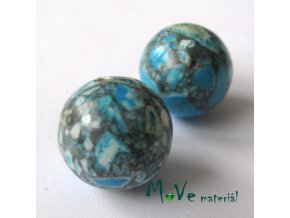 Korálky Marble 14mm 2ks, tyrkysové