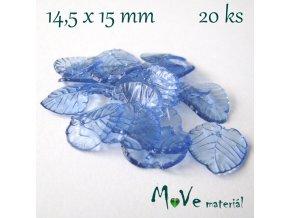 Akrylové transparentní lístečky, 20ks, stř. modrá