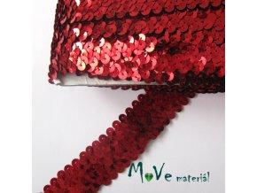Prýmek šíře 30mm elastický s flitry, 0,5m, červený