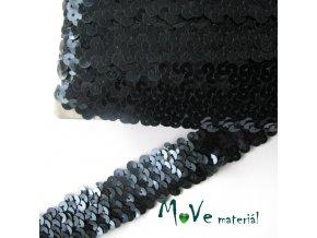 Prýmek šíře 30mm elastický s flitry, 0,5m, antracit