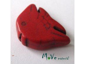 Tyrkenitová ryba 20x29x7mm, 1ks, červená