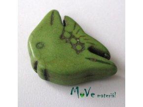 Tyrkenitová ryba 20x29x7mm, 1ks, zelená