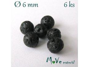 Lávový korálek kulička cca 6mm, 6ks