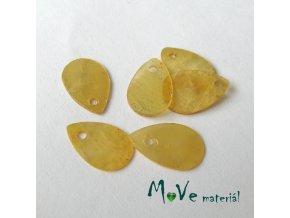 Perleťové penízky kapičky 13x9mm, 6ks, žluté