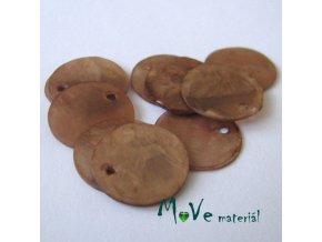 Perleťové penízky 15mm, 10ks, hnědé