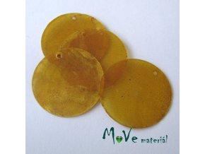 Perleťové penízky 30mm, 4ks, žluté