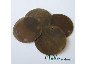Perleťové penízky 30mm, 4ks, hnědé