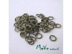Spojovací kroužek průměr 5mm, cca 64ks, staromosaz