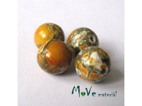 Korálky Marble hořčicové 10mm 4ks