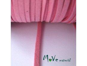 Plochá syntetická kůže, 1m, středně růžová