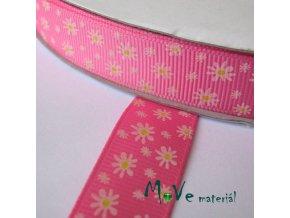 Stuha rypsová s květy 18mm/1m, tm. růžová