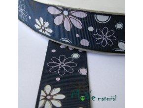 Stuha rypsová 25mm 1m, květy