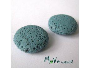 Lávový korálek placka cca 20mm, 1ks, tyrkysový