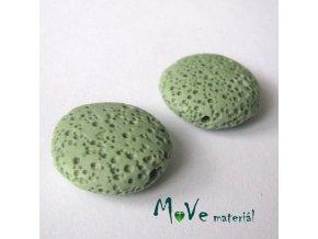 Lávový korálek placka cca 20mm, 1ks, zelený