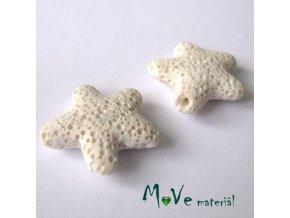Lávový korálek hvězda 24x8mm, 1ks, bílá