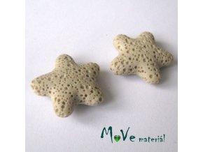 Lávový korálek hvězda 24x8mm, 1ks, béžová