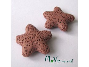 Lávový korálek hvězda 24x8mm, 1ks, starorůžová