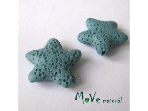 Lávový korálek hvězda 24x8mm, 1ks, tyrkysová