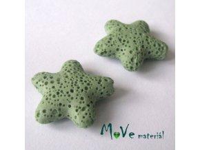 Lávový korálek hvězda 24x8mm, 1ks, zelená