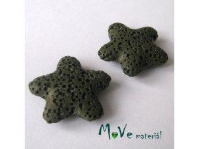 Lávový korálek hvězda 24x8mm, 1ks, khaki
