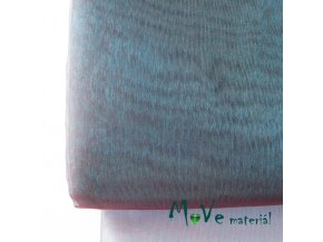 Organza tyrkysová fialové odlesky 140cm/ 20 cm