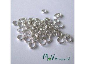 Dvojitý kroužek průměr 4mm, 3g/cca 56ks, stříbrný