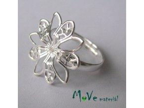 Prstýnek filigrán-květ 17mm, stříbrný 1ks