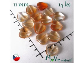 Česká oranžová žíhaná srdíčka 11mm 14ks
