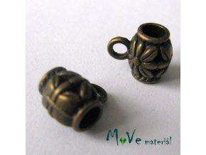Korálek kovový 9x7,5x3,5mm závěsný, 2ks